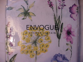 Envogue Purple Blue Yellow Wildflowers on White Shower Curtain - $36.00