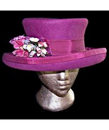 Kates Canada Wool Felt Upturn Kettle Brim Rasberry Pink Hat Royal Ascot ... - $189.99