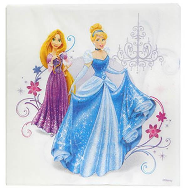 Disney Fairytale Princess White Lunch Napkins 16 Count Birthday Party Supplies