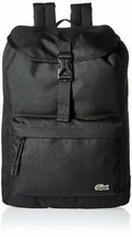 Lacoste Men's Premium Croc Logo Polyester Flap Backpack Black NH2013NE-991