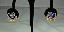 Gold Tone Blue & Clear Rhinestone Earrings - $9.90