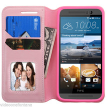For HTC One M9 PINK Leather Flip Wallet Credit Card Slots Pouch Case Cover - $8.89