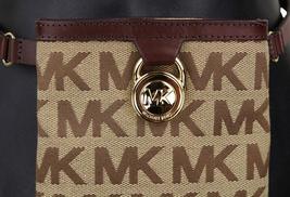 Michael Kors MK Women's Cut Out Leather Canvas Purse Belt Fanny Pack Bag 551501 image 9