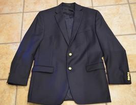 Ralph Lauren Sport Coat Jacket Blazer Navy Blue Wool 42 R Mens Gold Crest Button - $54.00