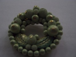 MINT GREEN WREATH SHAPED PIN MARKED JAPAN - $2.96