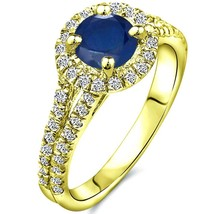 1.02 tcw Round Cut Sapphire & Natural Diamond 3 Stone Ring Solid 10k Whi... - $137.00