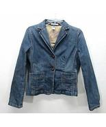 Gap Tailored Stretch Denim Blazer Womans 4 Blue Jean Leather Button Fron... - $19.30