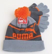 Puma Orange & Gray Knit Cuff Pom Beanie & Stretch Gloves Youth Boy's 8-20  - $34.64