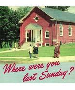 Vtg Lin Carte Postale Where Were You Dernière Sunday ? Église Mémo We Mi... - $54.92