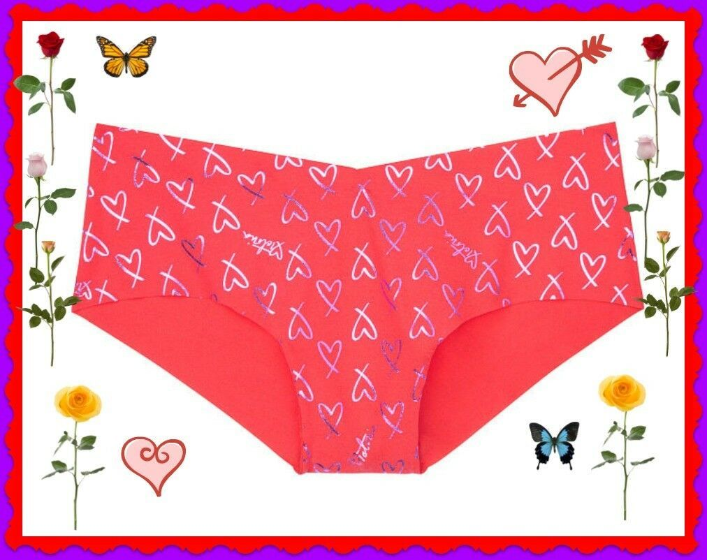 Primary image for L Red Purple Heart SHINE NO SHOW Seamless Victorias Secret Hiphugger Pantie