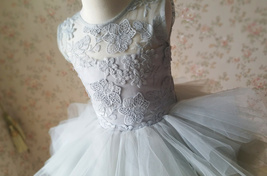 Gray Flower Girl Dress Gray Tulle/Lace Knee-Length Girl's Princess Dress NWT image 7