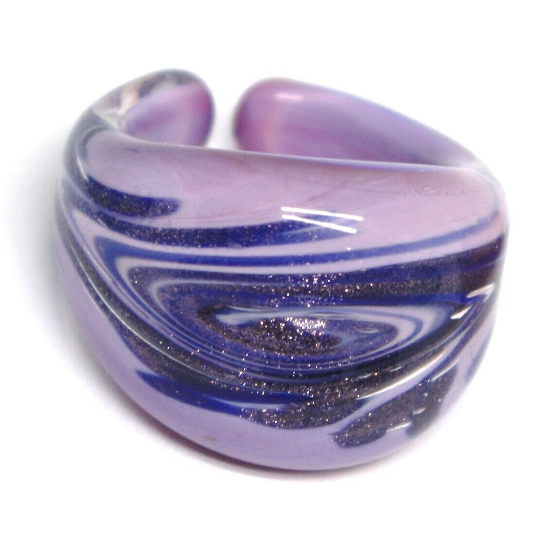 Ring Antique Murrina, Murano Glass, Purple Blue, Glitter, Spiral, Band