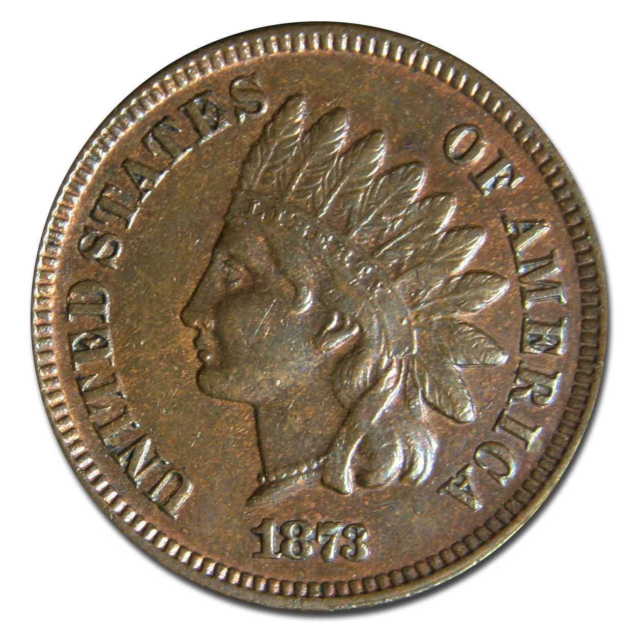 1873 Open 3 Indian Head Penny / Cent Coin Lot# MZ 2966