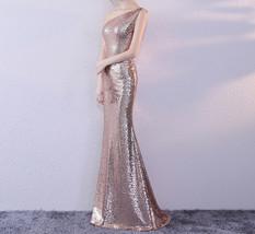 ROSE GOLD One Shoulder Sequin Dress Women Plus Size Mermaid Maxi Sequin Dresses image 2