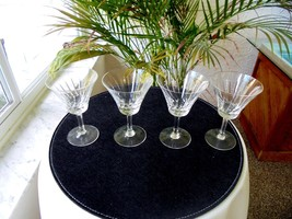 Set of 4 Clear Crystal Sherry Glasses Unbranded - $28.70