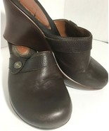 Tommy Hilfiger 9 M Brown Wedge Clog Leather Shoe Button Mule Shoe Platform - $39.59