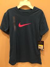 Nike Girls TShirt Dri Fit Graphic Sportswear Blue T-Shirt Tee Size Small (8) NWT - $8.77