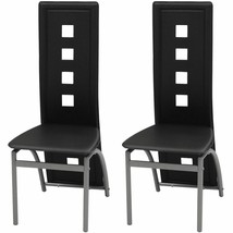 vidaXL Set of 2 High Back Dining Chairs Black Artificial Leather Kitchen... - $86.99