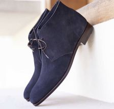Handmade Men's Blue Suede Lace Up Chukka Boots image 1
