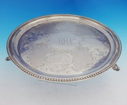 George Sharp Coin Silver Tray Round Cast and Applied Scroll w/Feet #136 (#3528) - $1,358.10