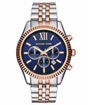 Michael Kors MK8412 Men Blue Dial Lexington Silver Rose Gold TwoTone Wri... - $136.30