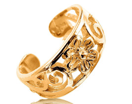 10K Solid Yellow GOLD Filigree Wide Flower Toe Ring - $129.00