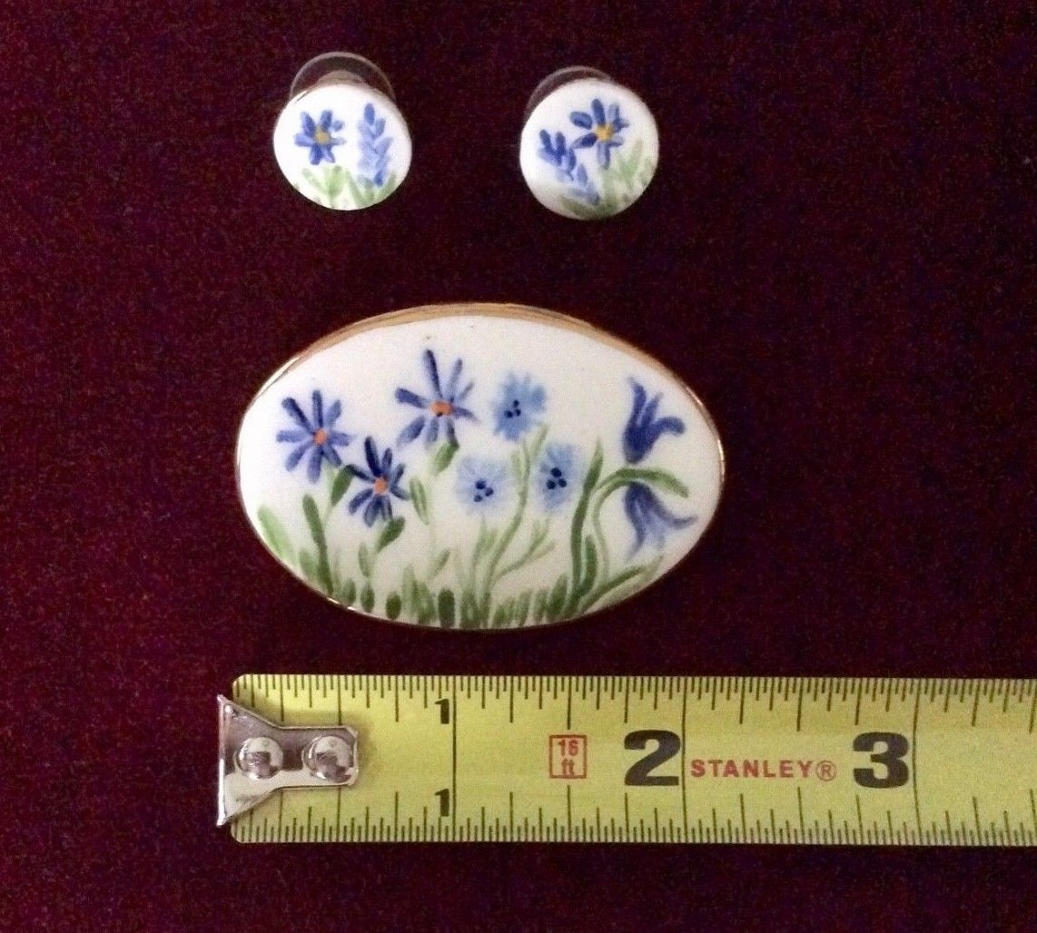 Handmade and Signed Forget-Me-Not Pin and Earring Set - 1980s