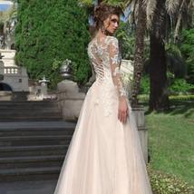 Long Sleeve Lace Tulle A Line Lace Appliques Lace Up Back Button Ballroom Weddin image 3