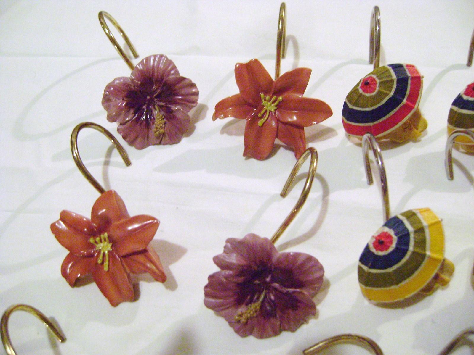 Shower Curtain  - Beach Umbrellas & Tropical Flowers