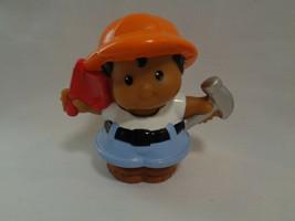 Fisher Price Little People '01 Hispanic Construction Worker Hard Hat Flag Hammer - $1.86