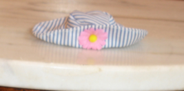 Barbie doll accessory pinstripe cloth hat wth wide brim pink and flower ... - $6.99