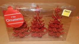 """Christmas Ornaments 3pc Red Glitter Christmas Trees 5 1/2"""" With Strings ... - $6.49"""