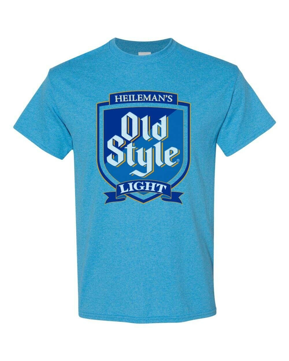 Old Style Light Beer T-shirt Distressed Vintage Label  heather blue tee