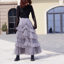 Gray Tiered Tulle Skirt Outfit High Waisted Full Plus Size Layered Tulle Skirts  image 5
