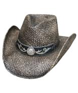 Bullhide Tennessee River Raffia Straw Cowgirl Hat Rhinestone Concho Blac... - $60.00