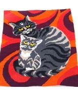 "Vintage 1970s Cat Cross Stitch Retro Kitty  Knit Tapestry Textile Art 13.5"" - $24.74"