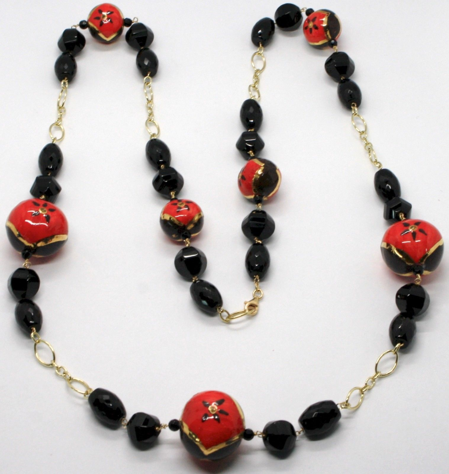 18K YELLOW GOLD LONG NECKLACE ONYX, BLACK RED CERAMIC DROP HAND PAINTED IN ITALY