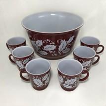 Hazel Atlas Holly Berry Punch Bowl Set 6 Mugs Punch Cup Christmas VTG Eg... - $42.52