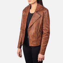 Women Slim fit Lambskin  Real Brown Aintique Leather Moto Biker Jacket-LD-02 image 3