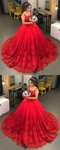 Red Lace Spagheti Strap Ball Gown Wedding Dress ,Pricess Wedding Gowns 2019 Sexy - $215.33