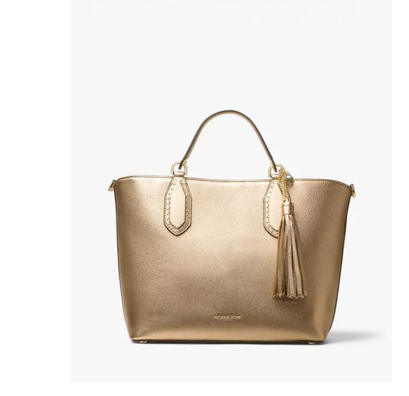 aa19d6158342 Michael Kors Brooklyn Large Grab Bag crossbody handbag satchel pale gold NWT