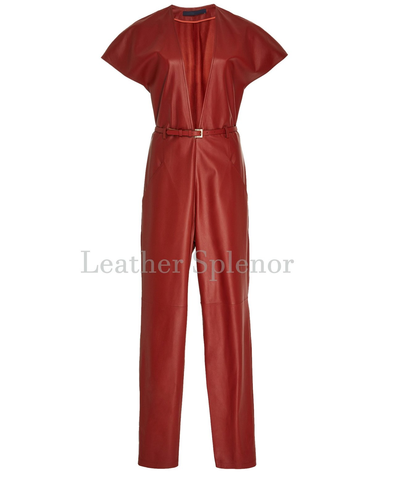 Wide Sleeve Style Women Leather Jumpsuit