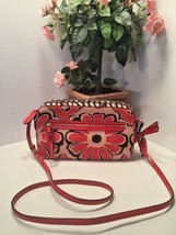 Coach Crossbody Bag Floral Scarf Flight 25121 Desert Sky Red Neutral - $58.79