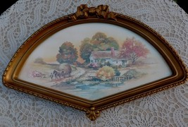 Vintage HOMCO Fan Wall Frame Country Autumn Scene Print Home Interiors - $28.00