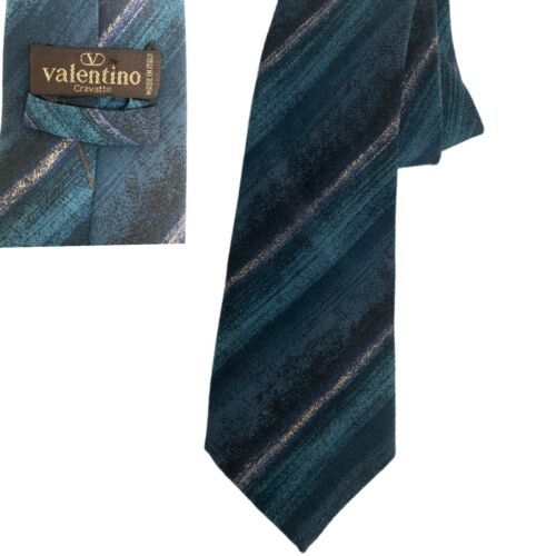 Primary image for Valentino cravatte tie green blue taupe 100% silk Hand Made in Italy Necktie