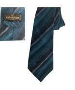 Valentino cravatte tie green blue taupe 100% silk Hand Made in Italy Nec... - $20.78