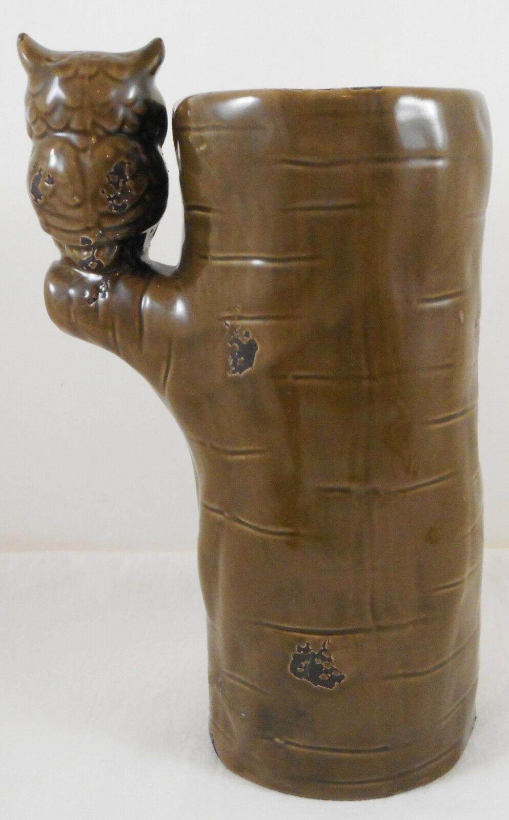 "Owl Tree Vase Large Ceramic Bud Flowers 8"" Napco"