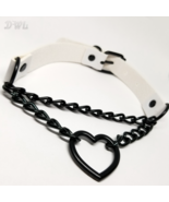 DWL Leather 'Chained Heart' BDSM Choker Necklace in WHITE - $11.99