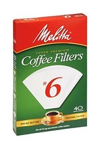 Melitta Cone Coffee Filters White No. 6 40 Count - $11.81