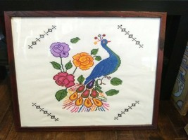 Vintage Framed Completed Needlepoint PEACOCK Animal - £15.27 GBP